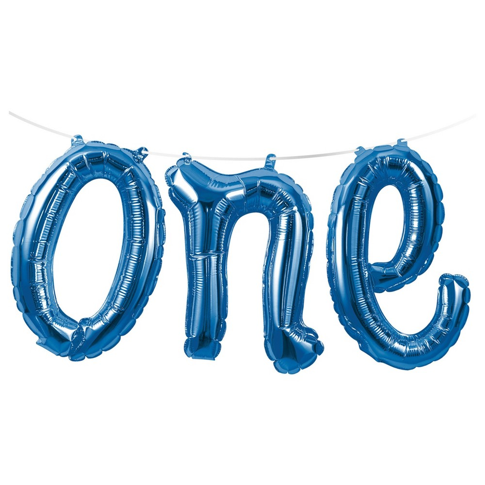 "Image of ""1st Birthday Boy """"One"""" Balloon Banner"""