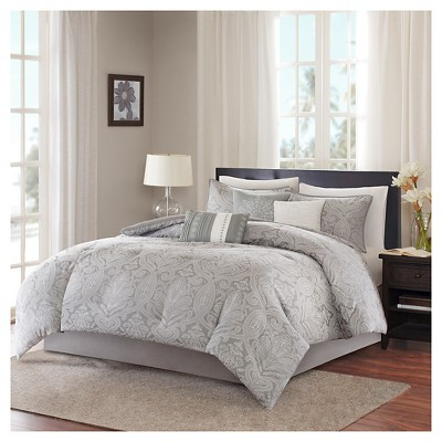 Devin Paisley Comforter Set (Queen)Gray - 7pc