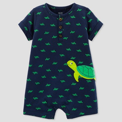 Baby Boys' 1pc Turtle Henley Romper - Just One You® made by carter's Navy Newborn