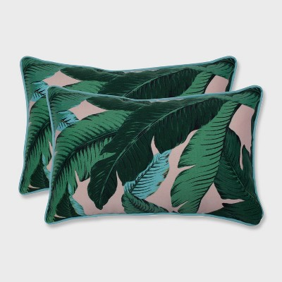 2pk Swaying Palms Rectangular Outdoor Throw Pillow Capri Blue - Pillow Perfect