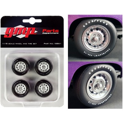 """Muscle Car Rally Wheels and Tires Set of 4 pieces from """"1970 Dodge Coronet Super Bee"""" 1/18 by GMP"""
