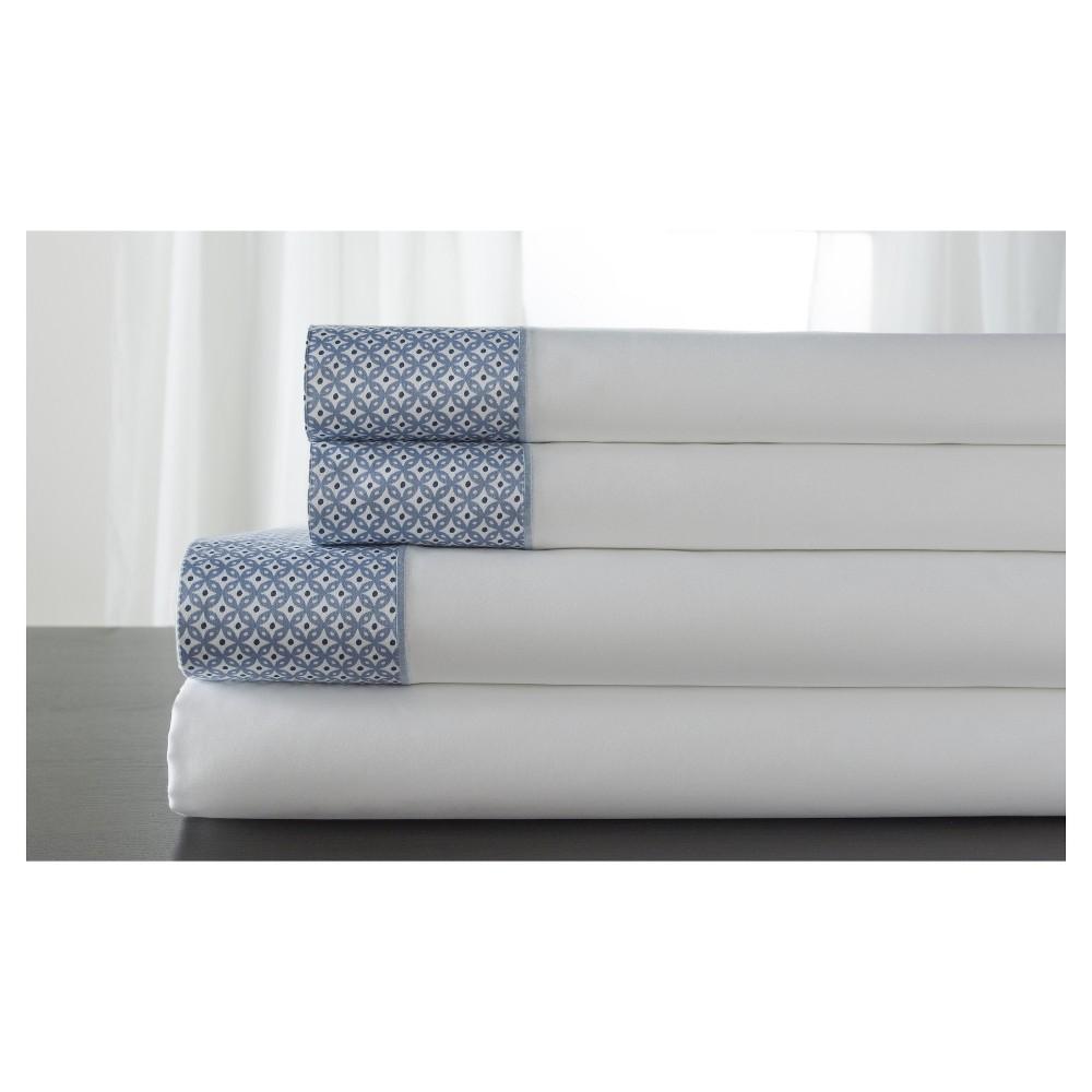 Image of Adara 100% Cotton Printed Hem 400TC Sheet Set (King) Blue