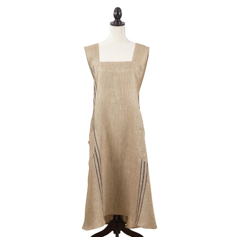 """Chic Cuisine Slip-On Striped Cooking Apron 35""""x28"""" Beige - Saro Lifestyle - image 1 of 3"""