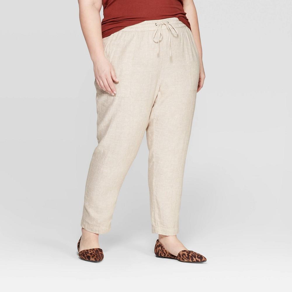 Women's Plus Size Straight Fit Soft Trouser Pants - Ava & Viv Khaki (Green) 3X