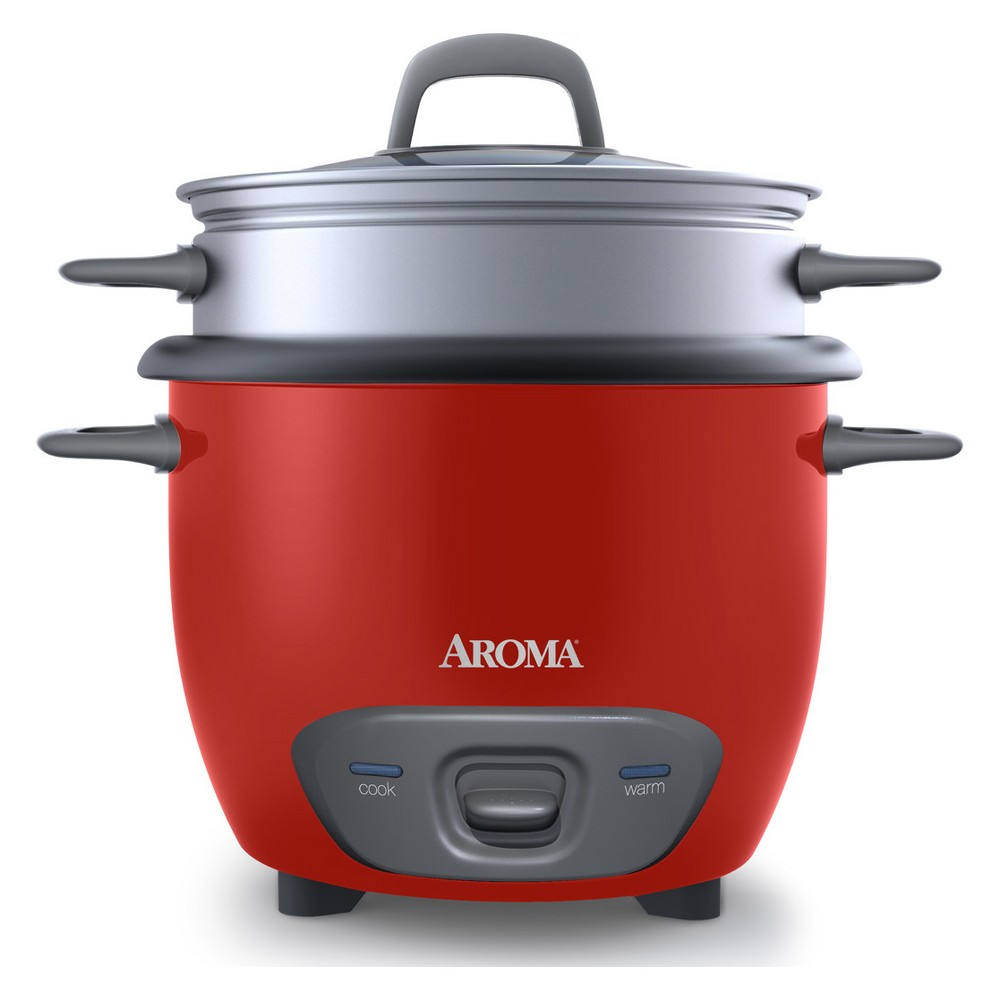 Image of Aroma 14 Cup Pot-Style Rice Cooker and Food Steamer - ARC-747-1NG, Red