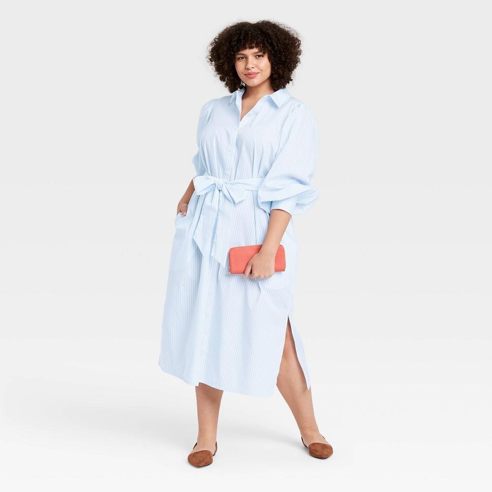 Women 39 S Plus Size Striped Long Sleeve High Cuff Shirtdress A New Day 8482 Blue 1x