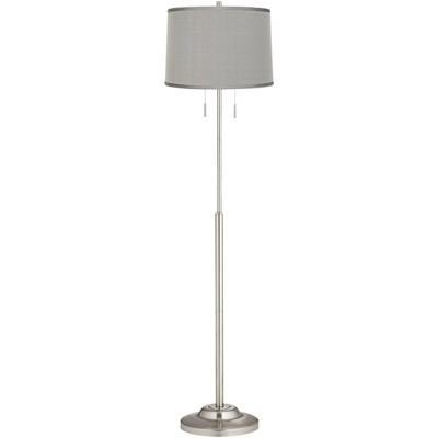 360 Lighting Modern Floor Lamp Brushed Steel Platinum Gray Dupioni Silk Drum Shade for Living Room Reading Bedroom Office