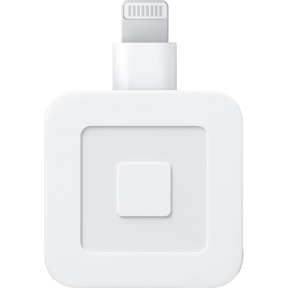 Square Credit Card Magstripe Reader with Lightning Connector for Apple iPhone & Apple iPad - White Accept credit or debit card payments with this Square Reader for magstripe. The Lightning connector works with Apple devices for easy setup, turning your iPad or iPhone into a credit card reader. With its glossy white finish, this Square Reader for magstripe brings a professional look to your customer transactions.