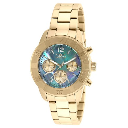 Women's Invicta 21612 Angel Quartz Chronograph Platinum Dial Link Watch - Gold - image 1 of 1