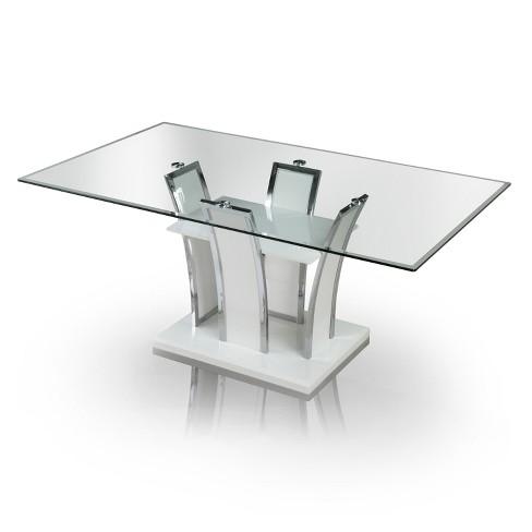 Iohomes 7pc Glass Top Open Shelf Base Dining Table Set Metalwhite
