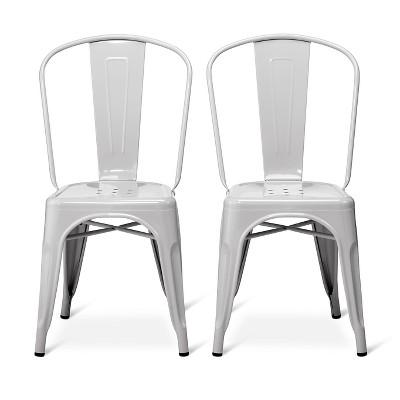Set of 2 Carlisle High Back Metal Dining Chair - Gray