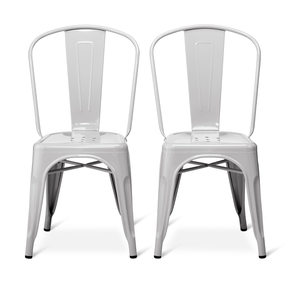 Set of 2 Carlisle High Back Metal Dining Chair - Gray