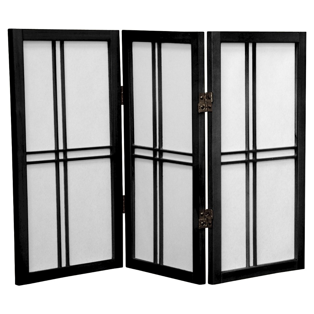 Image of 2 ft. Tall Desktop Double Cross Shoji Screen - Black (3 Panels) - Oriental Furniture
