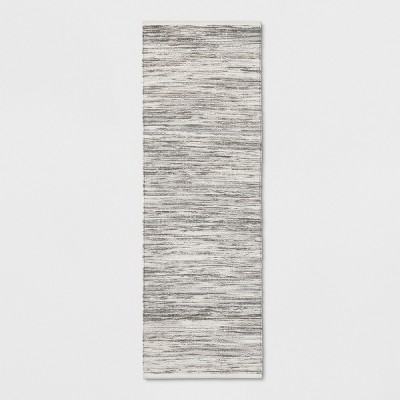 """2'4""""x7' Striped Metallic Woven Accent Rug Gray - Project 62™"""
