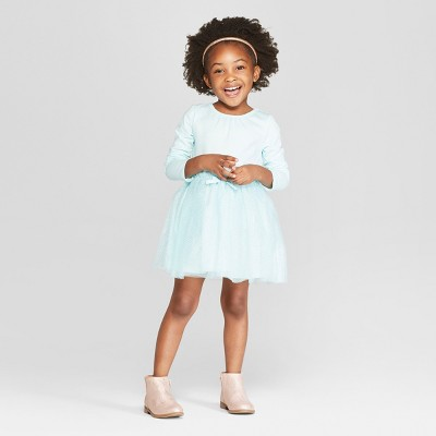 Toddler Girls' Long Sleeve Tutu Dress with Glitter Mesh Skirt - Cat & Jack™ Aqua 12M