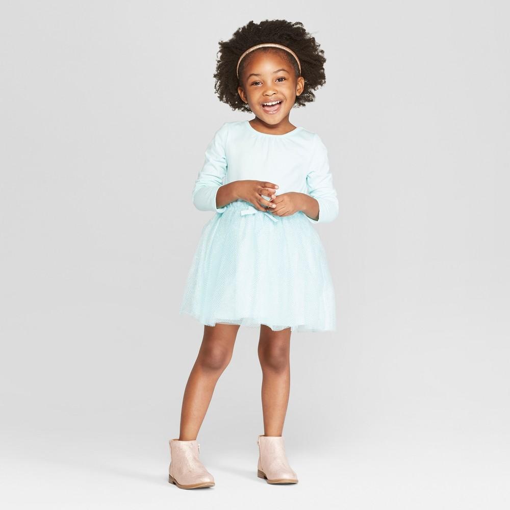 Toddler Girls' Long Sleeve Tutu Dress with Glitter Mesh Skirt - Cat & Jack Aqua 12M, Green