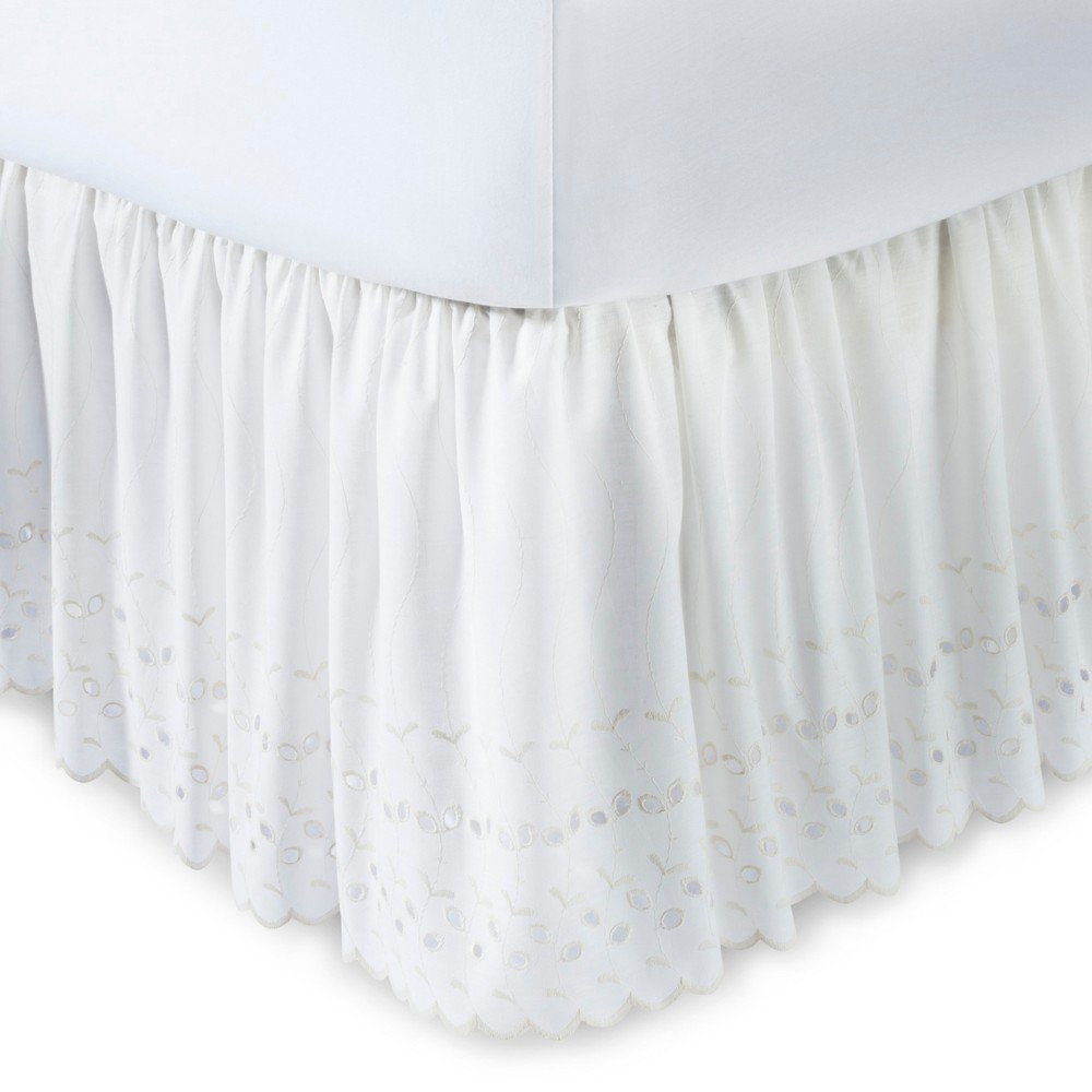 "Image of ""Ivory Eyelet 14"""" Bed Skirt (Queen)"""