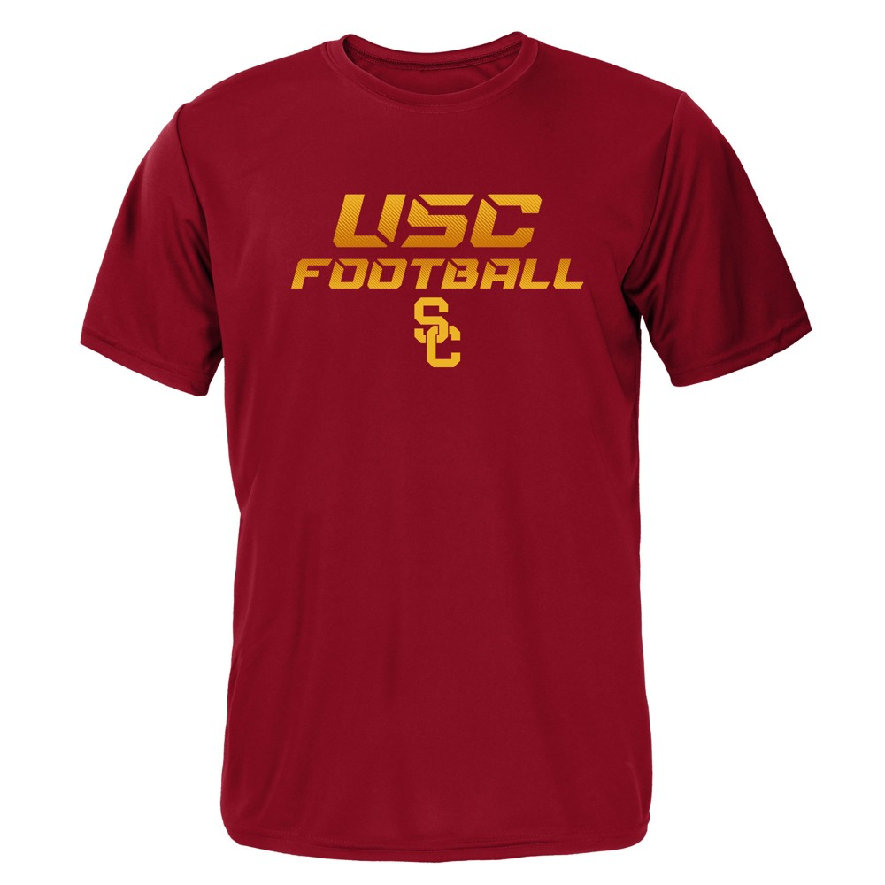 Usc Trojans Boys' Short Sleeve Activewear T-Shirt - Red - XS