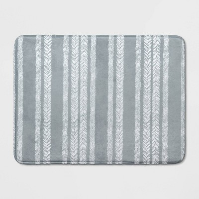 23 x17  Memory Foam Bath Rug Gray Stripe - Room Essentials™