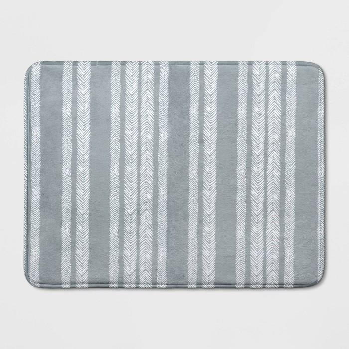 "23""x17"" Memory Foam Bath Rug Gray Stripe - Room Essentials™ - image 1 of 3"
