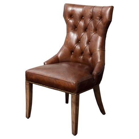 Wharton Top Grain Leather Dining Chair Brown