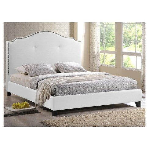 Marsha Scalloped Modern Bed with Upholstered Headboard White (King ...