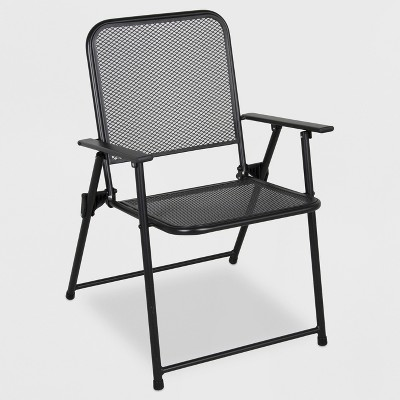 metal mesh folding patio chair threshold target rh target com folding patio table with umbrella hole folding patio chair set