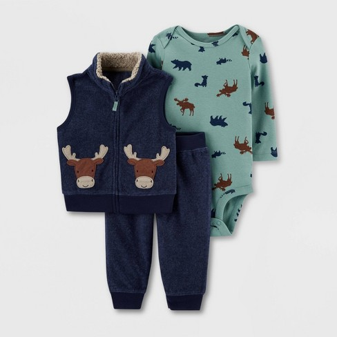 Baby Boys' 3pc Bodysuit, Moose Vest Top & Bottom Set - Just One You® made by carter's Blue/Green - image 1 of 1