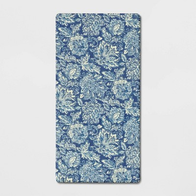 "40""x20"" Floral Comfort Kitchen Rug Blue - Threshold™"