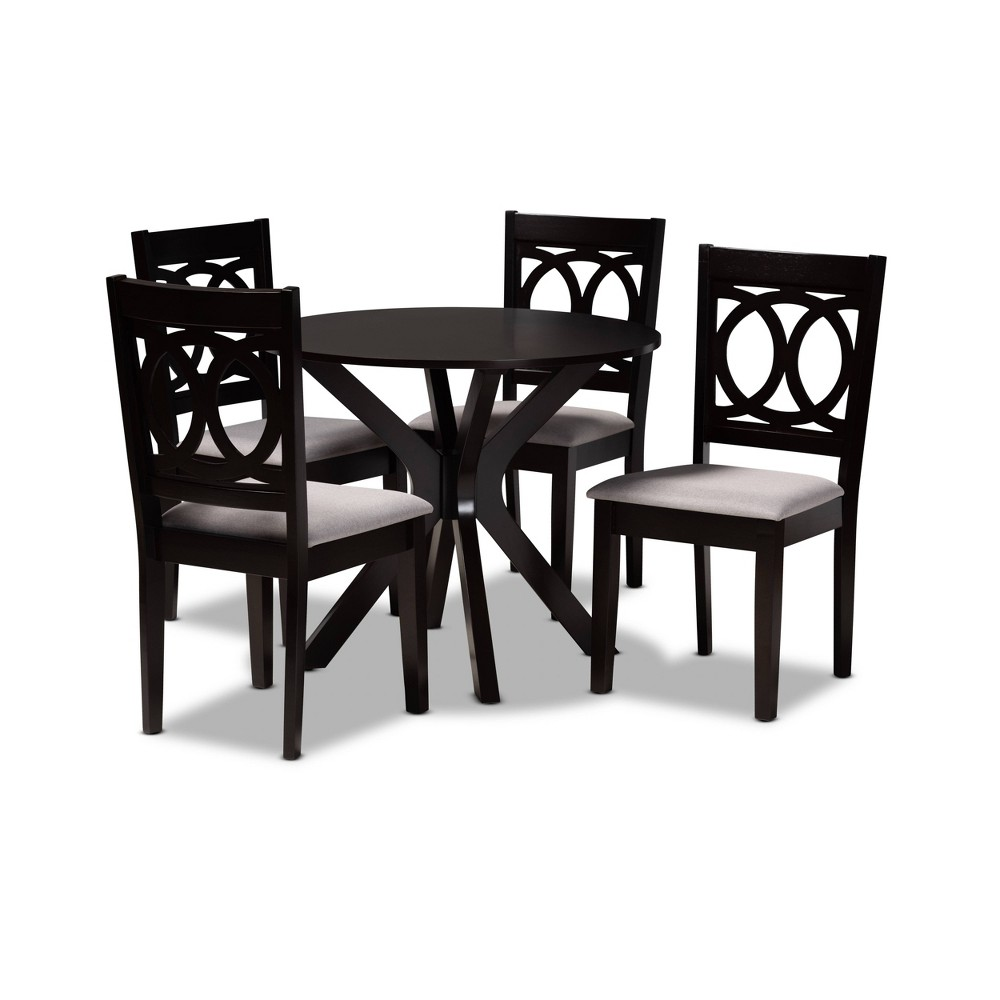 5pc Sanne Fabric Upholstered And Wood Dining Set Gray Brown Baxton Studio