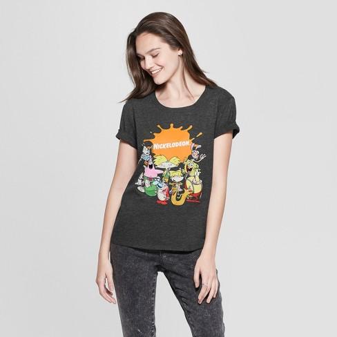 5679dcfa55a87 Women s Nickelodeon Short Sleeve Graphic T-Shirt (Juniors ) Charcoal ...
