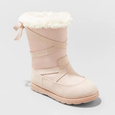 Toddler Girls' Isabella Zipper Slip-On Shearling Style Winter Boots - Cat & Jack™ Light Pink