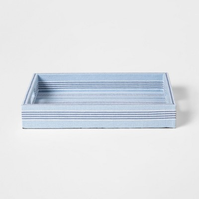 16  x 12  Decorative Stripped Fabric Tray Blue/White - Threshold™