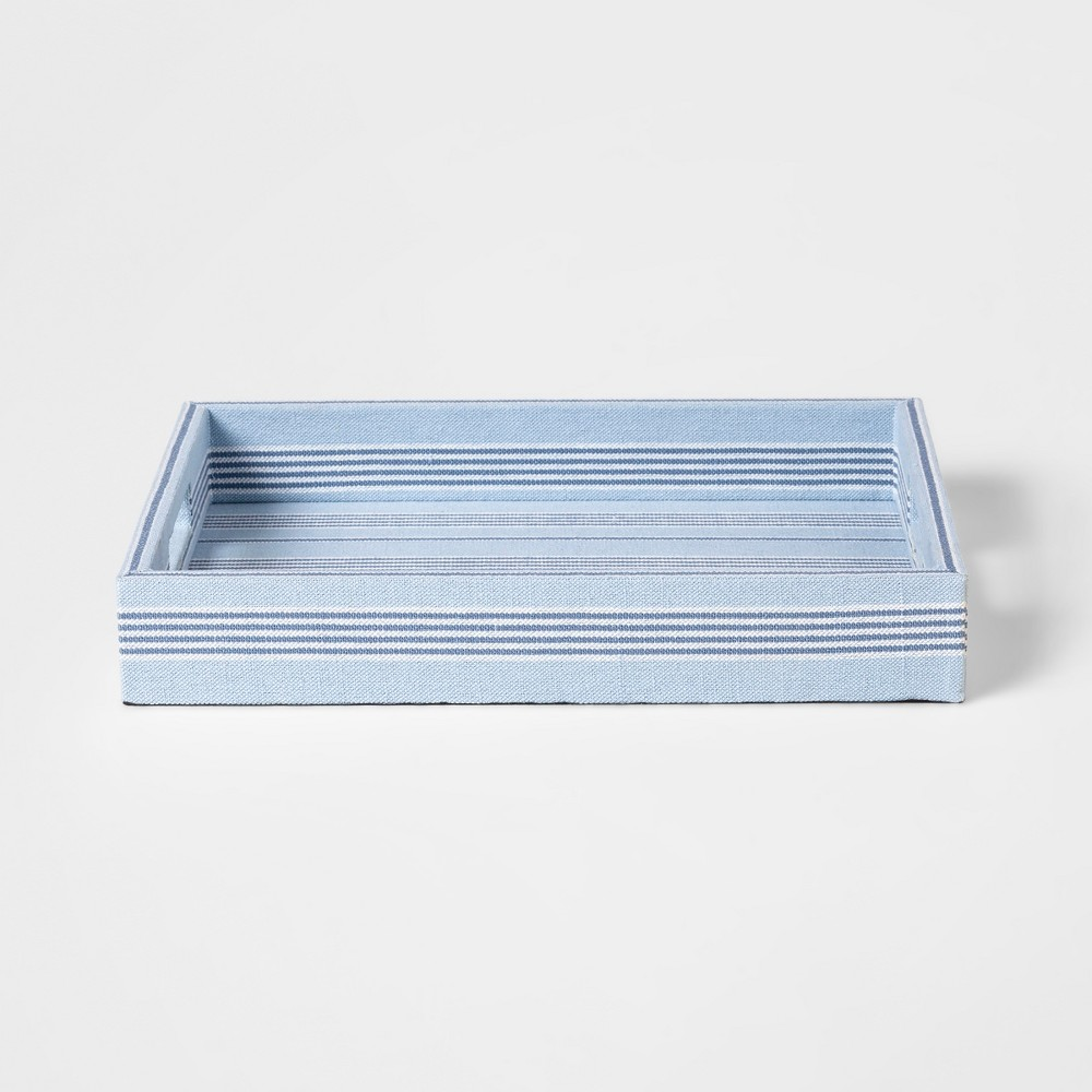 """Image of """"16"""""""" x 12"""""""" Decorative Stripped Fabric Tray Blue/White - Threshold"""""""