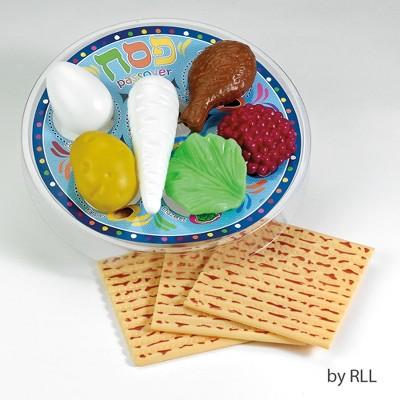 """Rite Lite 10pc Passover Deluxe Children Play Seder Set 4.25"""" - Blue/Beige"""