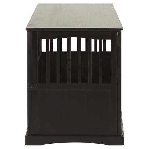 Dogs Pet Crate End Table Large Espresso Flora Home