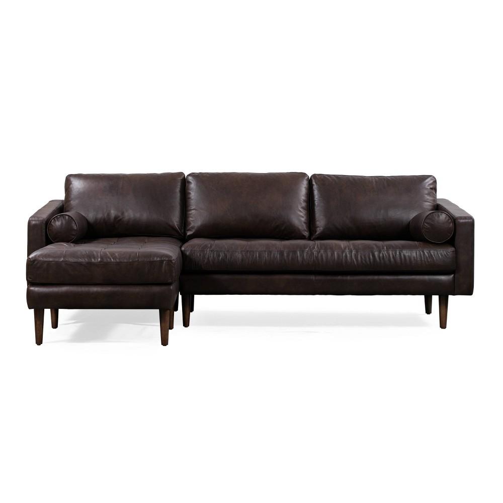 Image of Florence Mid Century Modern Left Sectional Sofa Madagascar Cocoa - Poly & Bark, Madagascar Brown