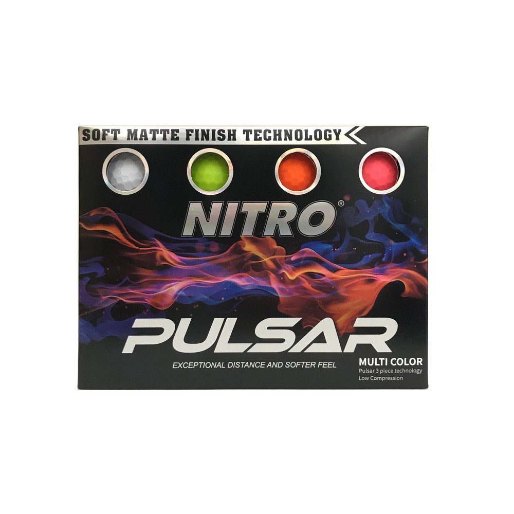 Nitro Golf Pulsar Golf Balls - 12pk, Multi-Colored