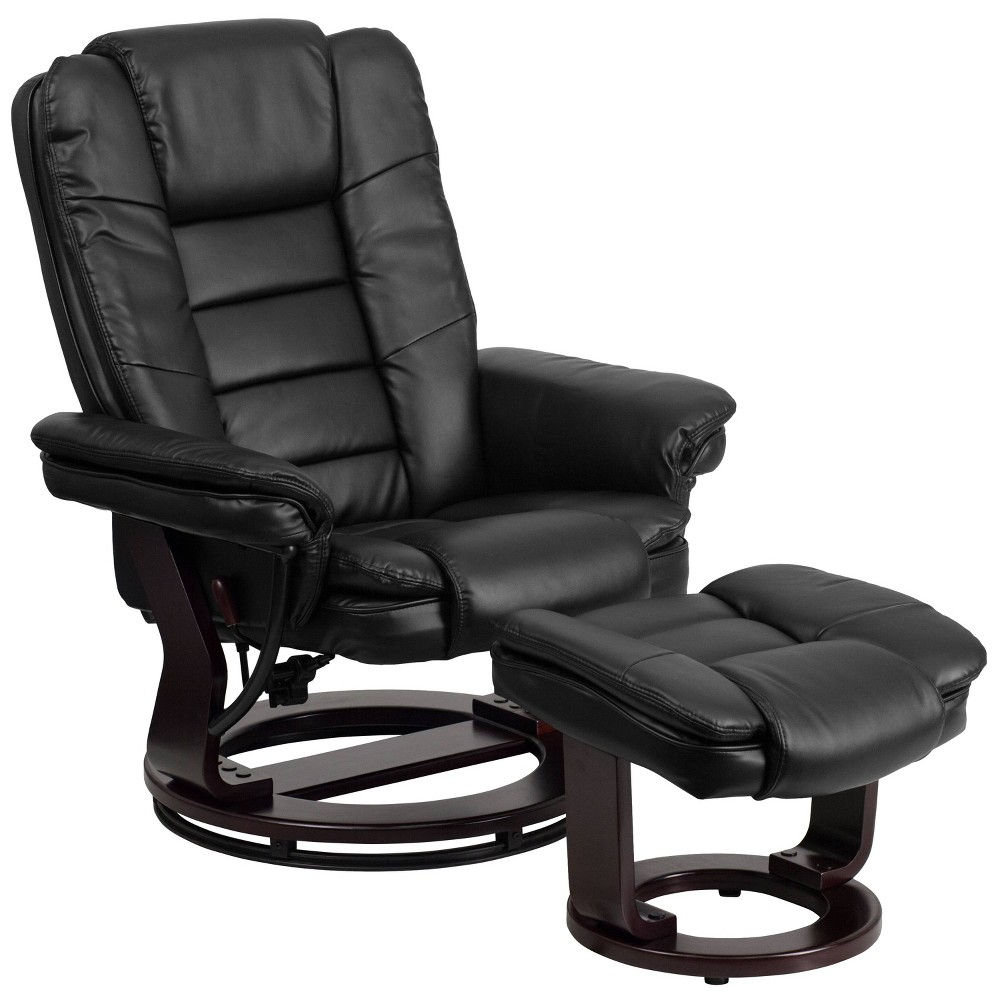 Image of Leather Recliner and Ottoman Black - Belnick
