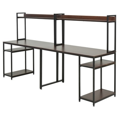 """HomCom 94"""" Industrial Modern Double 2-Person Computer Desk with Hutch and Storage Shelves"""