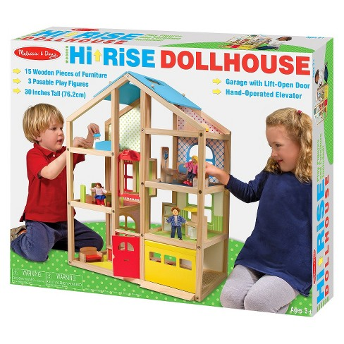 Melissa Doug Hi Rise Wooden 15pc Dollhouse With Furniture Garage And Working Elevator