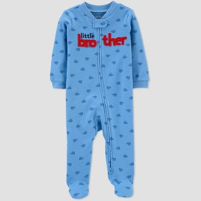 Baby Boys' Little Brother Turtle 1pc Pajama - Just One You® made by carter's Blue 3M