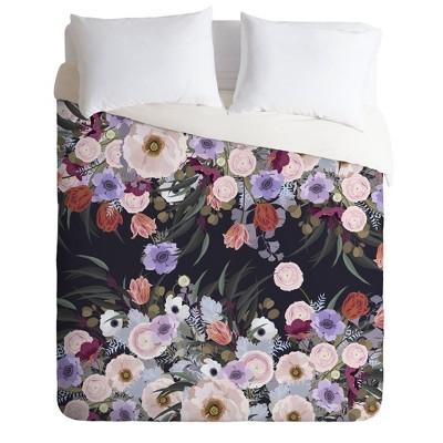 Full/Queen Iveta Abolina Floral Comforter Set Purple - Deny Designs