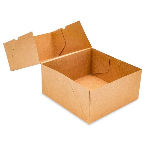 """Juvale 24-Pack Kraft Paper Cupcake Carrier Box, Pastry Box Take Out Containers with 4-Inserts & Window, 6.1x6.2""""x2.95"""", Brown - image 1 of 4"""