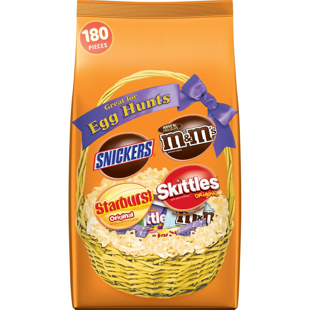 Skittles, Starburst, Snickers, and Milk Chocolate M&M's Easter Hunt Mix Fun Size Pieces - 73oz / 180ct