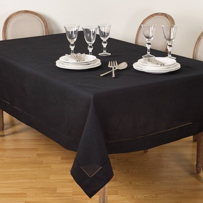 "70""x180"" Tablecloth with Hemstitch Border Design Black - Saro Lifestyle"