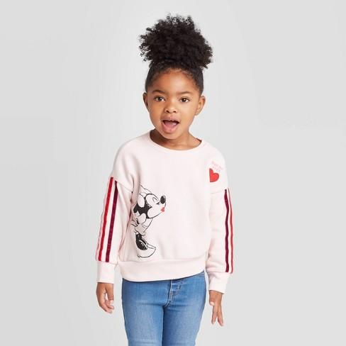 Toddler Girls' Disney Minnie Kiss Striped Crew Sweatshirt - Light Pink - image 1 of 3