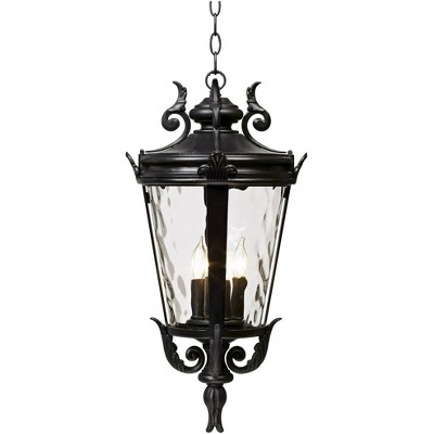 """John Timberland Traditional Outdoor Ceiling Light Hanging Textured Black 23 3/4"""" Clear Hammered Glass Damp Rated for House Porch"""