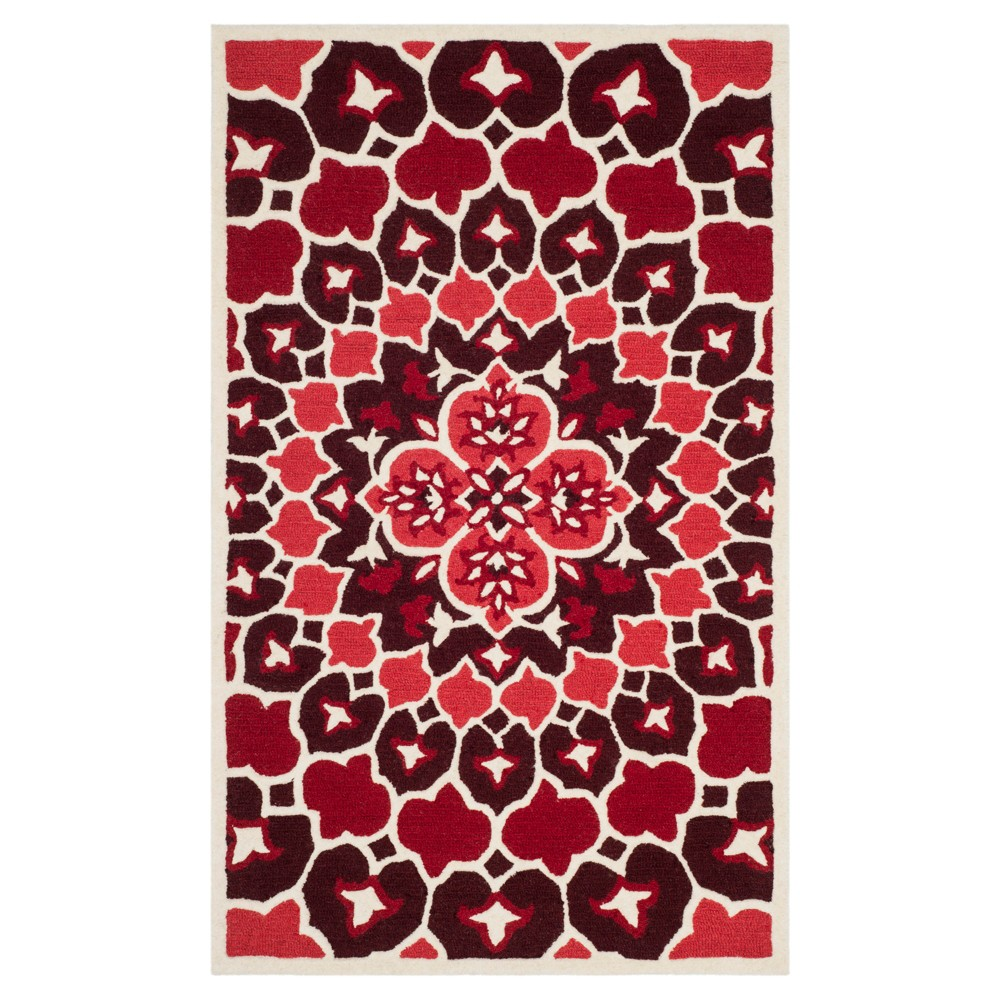 Red/Ivory Medallion Tufted Accent Rug 3'X5' - Safavieh
