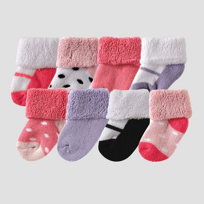 Luvable Friends Baby Girls' 8pk Sock Set - Pink 0-6M